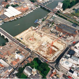 An aerial view of the John Lewis Kingston construction site
