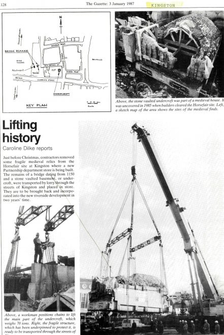 The excavations at Kingston, from the Gazette of the 3rd January 1987