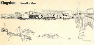 Initial proposals for John Lewis Kinston. Even from this drawing, it is easy to see just what an impact the new department store was supposed to have