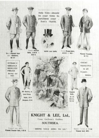 A page from a Knight and Lee summer catalogue, advertising the summer sale