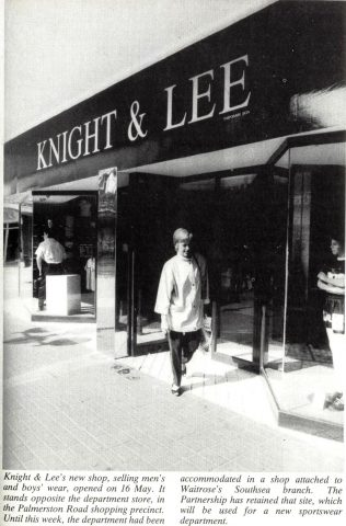 The Gazette details the opening of a brand new Knight and Lee Menswear shop, which was now located opposite the main building of Knight and Lee