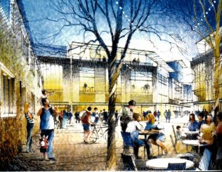An artist's drawing of John Lewis Leicester