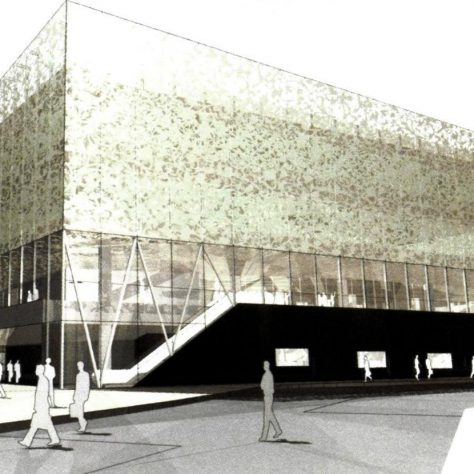 An artist's impression of John Lewis Leicester, complete with glass