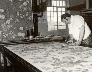 M. Sanderson block printing at Steads, 1977