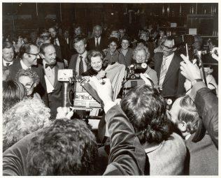Prime Minister Margaret Thatcher on her visit to the Milton Keynes Shopping Centre