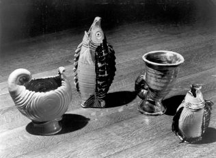 Examples of specially designed items from the Odney Pottery