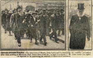A newspaper article from an un-named newspaper, showing both the determined strikers on the left, and an unflinching Mr John Lewis on the right