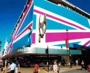 John Lewis Oxford Street with the Olympic wrap adjourning the exterior, 2012