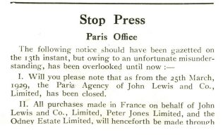 The closure notice of the original Paris Agency, 4th May 1929