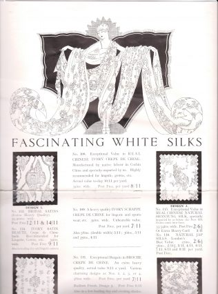 A page from a 1926 Peter Jones catalogue, advertising oriental white silks