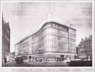 A line drawing for the new Peter Jones building, early 1930's