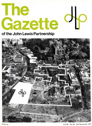 Front cover of the Gazette, showing both the Queensgate cente and the proposed site of the new Jon Lewis department store. The new store is marked on the left