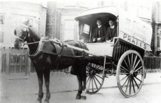 A Pratts horse-drawn delivery van, circa 1912-1920