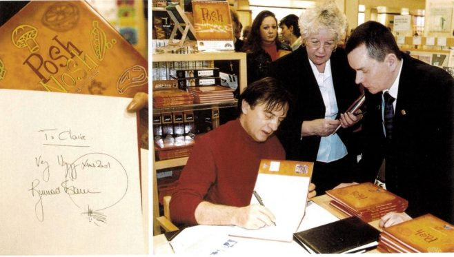 Raymond Blanc signing an addition of Posh Nosh, 2001