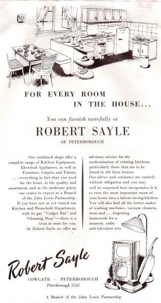 A post-war leaflet advertising Robert Sayle Peterborough