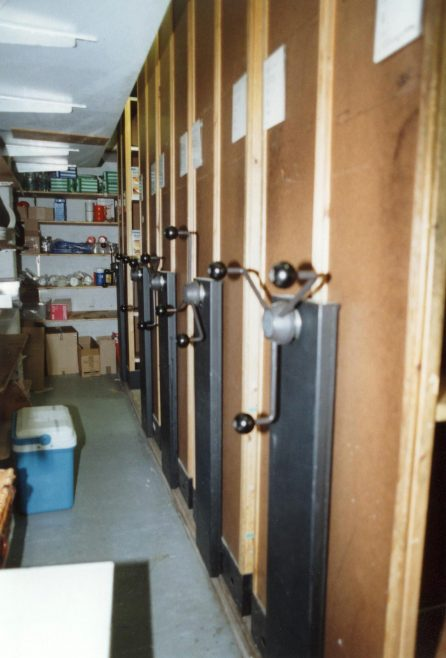 The first mobile racking introduced into Trewin Bros. | JLP Archive Collection