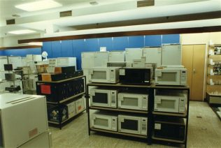 Microwave ovens ready for demonstrating. | JLP Archive Collection