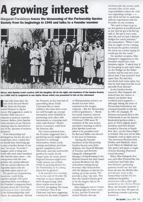 The origins of the Garden Society.   The Gazette. 5th.June 1999.