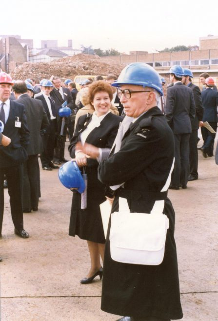 Mrs Sue Graham, General Manager, holding her hard hat. | JLP Archive Collection