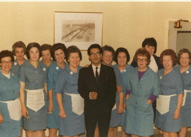 (L to R) Janine Simonds, Irene Goundry, Mary Cross, Terry Kelly, Peggy Maher, June Taylor, Mr. Niogi (manager), Bessie Andrews, Nellie Ellisdon, Doris (?), Trudy Burton (supervisor), May Gray and Eva Adams. | JLP Archive Collection