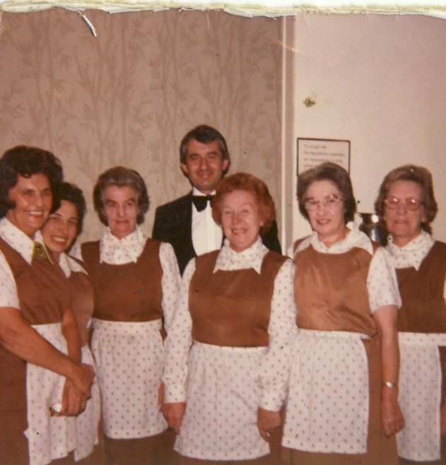 Branch Council Dinner. October 1982. (L to R)   Peggy Maher, Janine Simonds, Irene Goundry, Mr Boggia, May Gray, Mary Cross and Eva Adams. | JLP Archive Collection