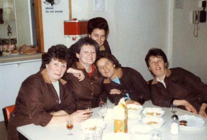 Morning coffee on the last day of trading, L/R, Pat Bass, Laura Mitchell, Mary Harvey, Margaret O'Mally and Elaine Blatchford. | From the private collection of Laura Mitchell