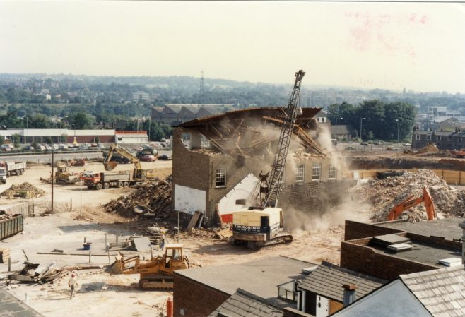 Buildings behind the Lower High Street and Queens Road being demolished. | JLP Archive Collection