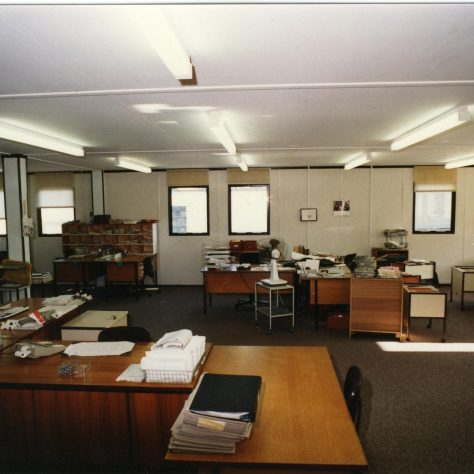 Offices inside the portacabin. | JLP Archive Collection