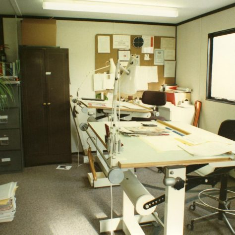 Kitchen Planning Department in the portacabin. | JLP Archive Collection