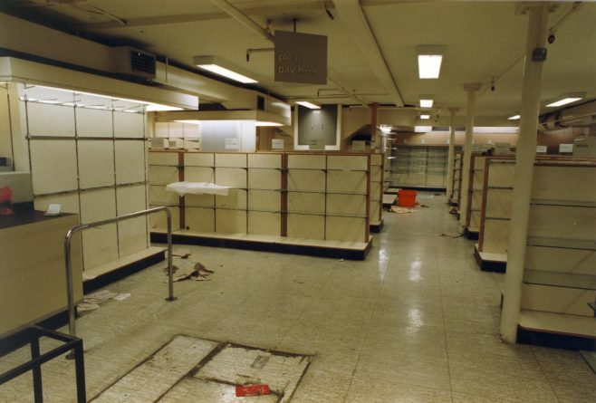 Deserted interior of the Queens Road shop. | JLP Archive Collection
