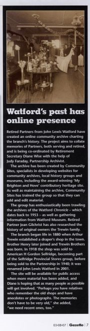 Watford's past has online presence