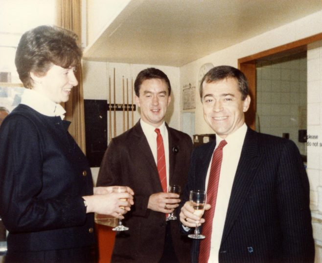 Mrs Spoory (assistant branch manager), with Nick Hart (checkout manager) and Mr Vaile (branch manager). | From the private collection of Laura Mitchell