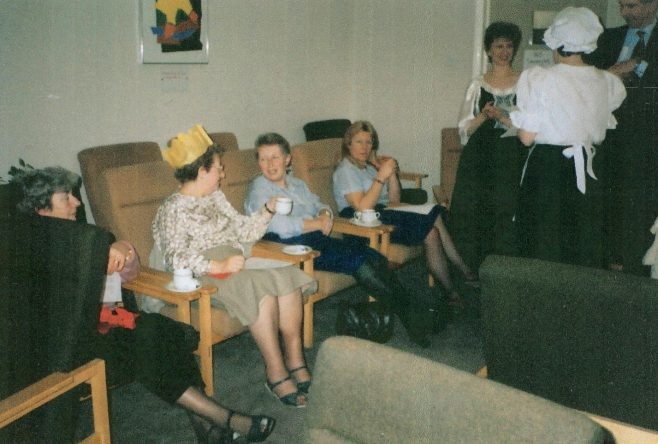 Josie Pennell, Pam Krisson, Anne Woolcott, Teresa Whiteley and Jeanette Pascoe enjoy coffee after lunch. | From a private collection
