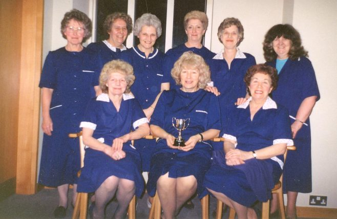 Shop department winners. Back row: Annie Maguire, Maureen Brosnan, Brenda Page, Maureen Bishop, Doreen Ross & Maria Cummings. Front row: Pam Miles, Pat Hatton & Sheila Shakeshaft.