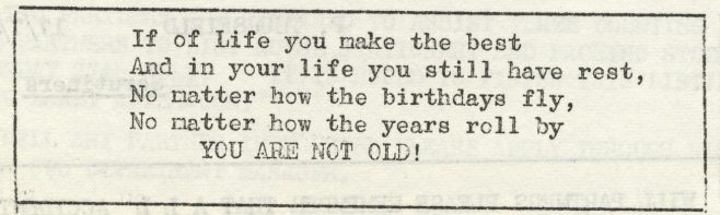 You are not old! | Volume 6, No.25, 20 July 1957
