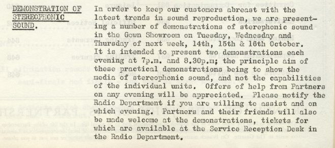 Demonstration of Stereophonic sound. | Volume 7, No.34, 11 October 1958