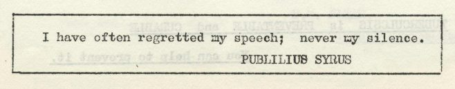 Regrets | Volume 8, No.9, 4 April 1959