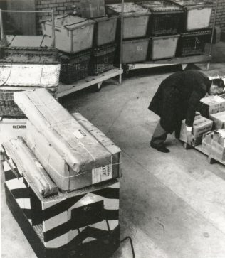 The robotug and trailers at John Lewis Stevenage, 1964