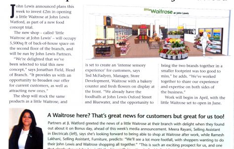 New concept little Waitrose for JL Watford.