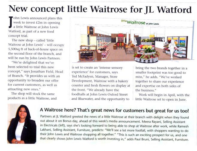 New concept little Waitrose for JL Watford.