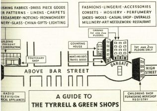 A guide to the different Tyrrell and Green shops, from a Gazette of 1955