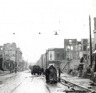 The day after the bombing: Tyrrell and Green lies in ruins on the right hand side of the above photo