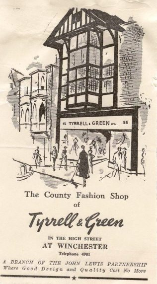 An advertisement for Tyrell and Green Winchester