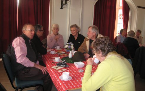 Some members of the Robert Sayle Rambling Club meet at the Coffee morning in December 2009