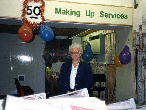 Marjorie Shaw at the Make up Desk on her 50th birthday.
