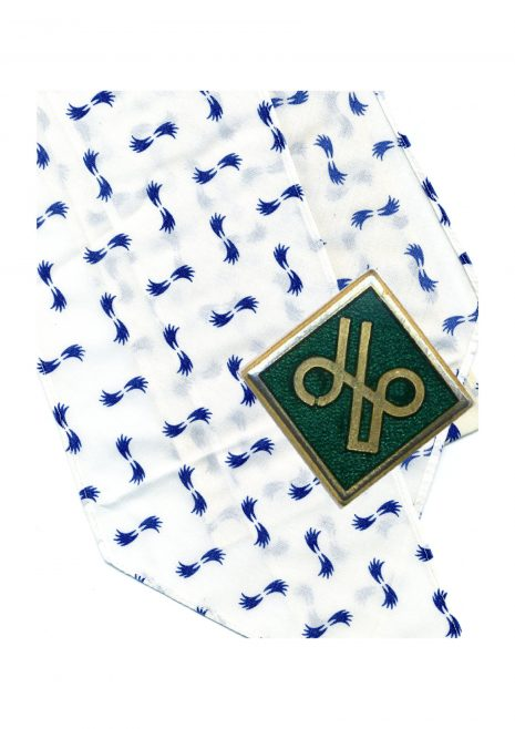JLP dress badge on scarf of business dress worn at Robert Sayle