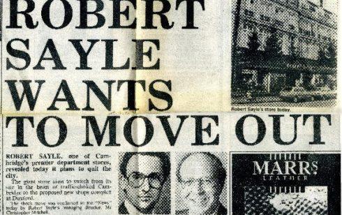 Newspaper cutting regarding relocation of Robert Sayle shop