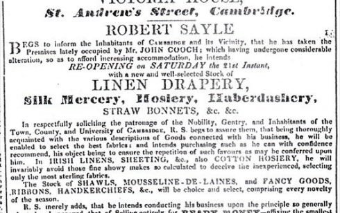 Advertisement for Robert Sayle from the Cambridge Advertiser.