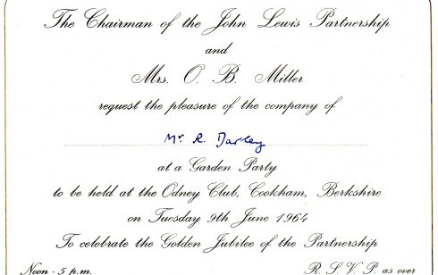 Invitation to Robert Sayle Partner for Garden Party at Odney