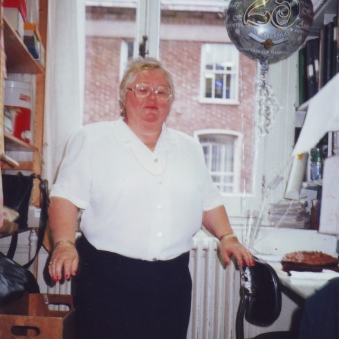 Penny Olesen in her office on the occasion of her 25 years celebration in the partnership